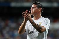 Real Madrid´s James Rodriguez during Santiago Bernabeu Trophy match at Santiago Bernabeu stadium in Madrid, Spain. August 18, 2015. (ALTERPHOTOS/Victor Blanco)