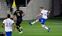 LOS ANGELES, CA - SEPTEMBER 02: Tommy Thompson #22 of the San Jose Earthquakes passes off the ball during a game between San Jose Earthquakes and Los Angeles FC at Banc of California stadium on September 02, 2020 in Los Angeles, California.