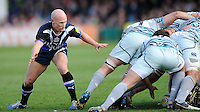 Peter Stringer of Bath Rugby covers Ben Youngs of Leicester Tigers at the base of the scrum during the Aviva Premiership match between Bath Rugby and Leicester Tigers at The Recreation Ground on Saturday 20th April 2013 (Photo by Rob Munro)