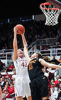 STANFORD, CA - January 22, 2011:  Sara Boothe with a defensive rebound during Stanford's 95-51 victory over USC at Stanford, California on January 22, 2011.