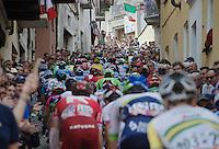peloton up the last ascent of the very narrow & steep (20%) cobbled Via Principi d'Acaja<br /> <br /> stage 18: Muggio - Pinerolo (240km)<br /> 99th Giro d'Italia 2016