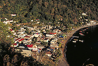 Village of Soufriere, island of Dominica , West Indies. Soufriere, Dominica West Indies.