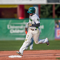 20 August 2017: Vermont Lake Monsters outfielder Logan Farrar, a 36th round draft pick for the Oakland Athletics, rounds the bases after hitting a solo home run against the Connecticut Tigers at Centennial Field in Burlington, Vermont. The Lake Monsters rallied to edge out the Tigers 6-5 in 13 innings of NY Penn League action.  Mandatory Credit: Ed Wolfstein Photo *** RAW (NEF) Image File Available ***