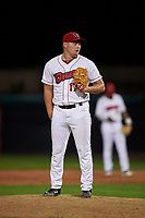 Orem Owlz relief pitcher Shane Kelso (17) during a Pioneer League game against the Idaho Falls Chukars at The Home of the OWLZ on August 13, 2019 in Orem, Utah. Orem defeated Idaho Falls 3-1. (Zachary Lucy/Four Seam Images)