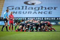 29th September 2020; Franklin Gardens, Northampton, East Midlands, England; Premiership Rugby Union, Northampton Saints versus Sale Sharks; Alex Mitchell of Northampton Saints puts into the scrum