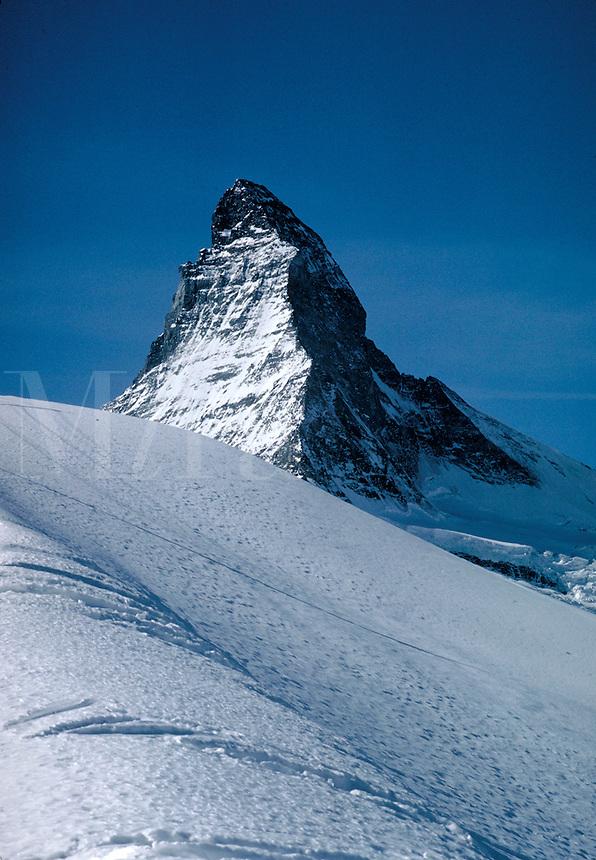 A spectacular view of the snow-covered Matterhorn, part of the Swiss Alps on the Swiss-Italian Border. Winter scene. Zermatt, Switzerland.