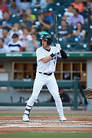 Charlie Tilson (1) of the Charlotte Knights at bat against the Buffalo Bisons at BB&T BallPark on July 24, 2019 in Charlotte, North Carolina. The Bisons defeated the Knights 8-4. (Brian Westerholt/Four Seam Images)