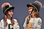 """Cho-A and Ellin(CRAYON POP), July 22, 2015 : Choa(L) and Ellin of Crayon Pop attend the promotion event for their new single """"ra ri ru re"""" at Lazona Kawasaki Plaza in Kawasaki, kanagawa prefecture, Japan, on July 22, 2015. They performed the opening act for Lady Gaga's """"ArtRave: The Artpop Ball concert tour"""" in twelve cities across North America on 2014."""