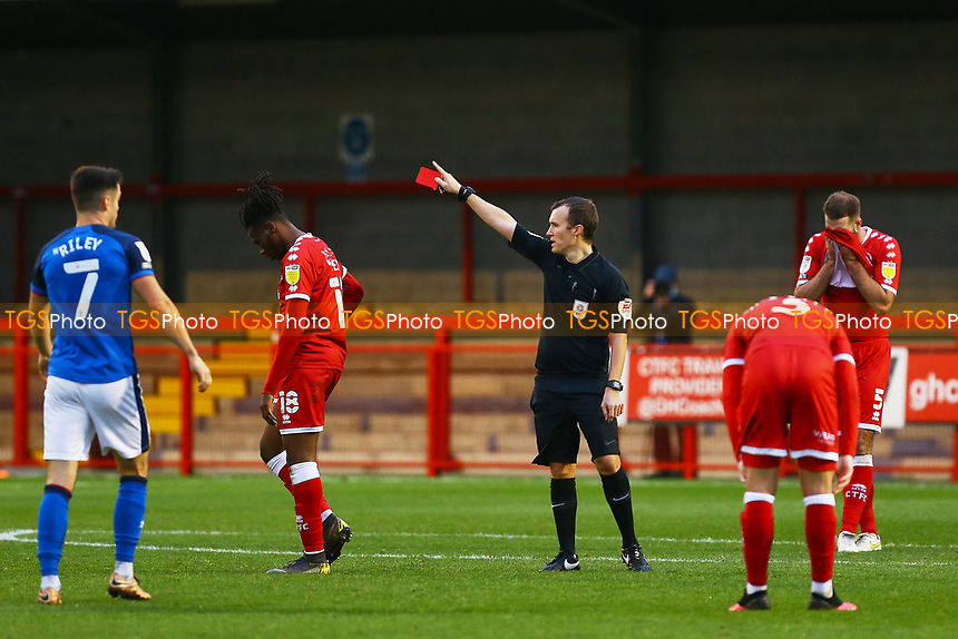 David Sesay of Crawley Town is sent from the pitch after receiving a red card a red card during Crawley Town vs Carlisle United, Sky Bet EFL League 2 Football at Broadfield Stadium on 21st November 2020