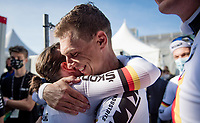 Tony Martin (DEU/Jumbo-Visma) says goodbye to professional cycling after an impressive career (4 time individual TT world champion) by taking the rainbow jersey / gold medal in the Mixed Relay TTT <br /> <br /> Team Time Trial from Knokke-Heist to Bruges (44.5km)<br /> <br /> UCI Road World Championships - Flanders Belgium 2021<br /> <br /> ©kramon