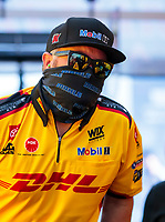 Aug 9, 2020; Clermont, Indiana, USA; NHRA top fuel driver Shawn Langdon wears a face mask covering during the Indy Nationals at Lucas Oil Raceway. Mandatory Credit: Mark J. Rebilas-USA TODAY Sports