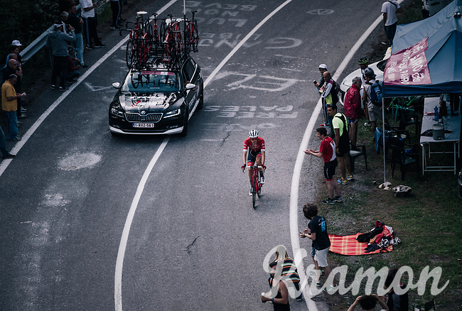 Boy Van Poppel (NED/Trek-Segafredo) up the final climb to Pratonevoso<br /> <br /> stage 18: Abbiategrasso - Pratonevoso (196km)<br /> 101th Giro d'Italia 2018