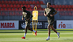 Atletico de Madrid's Thomas Lemar (l) and Hector Herrera during training session. September 7,2020.(ALTERPHOTOS/Atletico de Madrid/Pool)