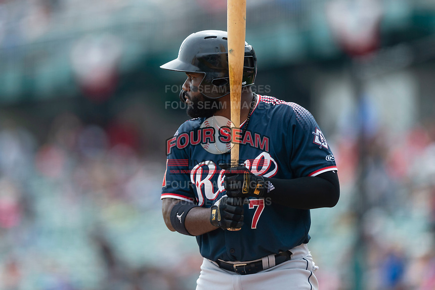 Reno Aces right fielder Abraham Almonte (7) batting during a game against the Fresno Grizzlies at Chukchansi Park on April 8, 2019 in Fresno, California. Fresno defeated Reno 7-6. (Zachary Lucy/Four Seam Images)
