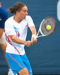Alexandr Dolgopolov of Ukraine during the singles final at the Citi Open in Washington, DC on August 5, 2012.