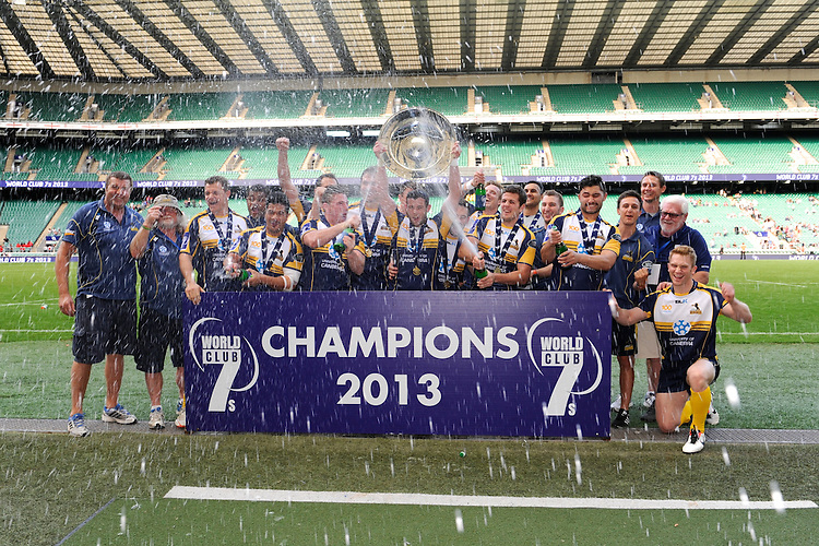 University of Canbera Brumbies celebrate winning the inaugural World Club 7s Cup at Twickenham on Sunday 18th August 2013 (Photo by Rob Munro)