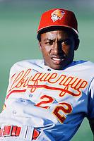 Wilton Guerrero (22) of the Albuquerque Dukes before a game against the Las Vegas Stars during the 1996 baseball season at Cashman Field in Las Vegas, Nevada. (Larry Goren/Four Seam Images)