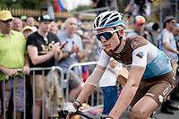 A blooded Benoit Cosnefroy (FRA/AG2R-La Mondiale) crossing the finish line last (after a crash split the peloton in the race finale)<br /> <br /> Stage 1: Brussels to Brussels(BEL/192km) 106th Tour de France 2019 (2.UWT)<br /> <br /> ©kramon