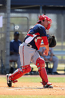 Washington Nationals minor league catcher Derek Norris #18 throws down to second during a spring training game against the Baltimore Orioles at the Spacecoast Stadium Training Complex on March 27, 2011 in Melbourne, Florida.  Photo By Mike Janes/Four Seam Images