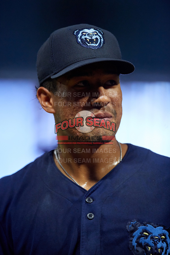 Mobile BayBears Jahmai Jones (15) during a Southern League game against the Jacksonville Jumbo Shrimp on May 28, 2019 at Baseball Grounds of Jacksonville in Jacksonville, Florida.  Mobile defeated Jacksonville 2-1.  (Mike Janes/Four Seam Images)