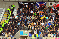 ATTENTION SPORTS PICTURE DESK<br /> Pictured: Fans of Cardiff City in action <br /> Re: Coca Cola Championship, Swansea City Football Club v Cardiff City FC at the Liberty Stadium, Swansea, south Wales. Saturday 07 November 2009