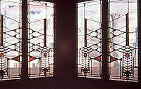 Frank Lloyd Wright: Dana House, Springfield, IL., 1902-1904.   Stained glass window detail. ( Photo Feb. 1988.)
