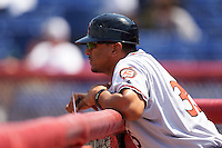 Richmond Flying Squirrels manager Miguel Ojeda (35) during a game against the Binghamton Mets on June 26, 2016 at NYSEG Stadium in Binghamton, New York.  Binghamton defeated Richmond 7-2.  (Mike Janes/Four Seam Images)