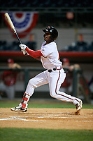 Florida Fire Frogs designated hitter Kevin Josephina (2) follows through on a swing during a game against the Palm Beach Cardinals on May 1, 2018 at Osceola County Stadium in Kissimmee, Florida.  Florida defeated Palm Beach 3-2.  (Mike Janes/Four Seam Images)
