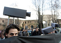 "Manifestazione contro il ""pacchetto sicurezza"" a Roma, 31 gennaio 2009..Demonstrators keep fictitious surveillance telecameras on their heads during a protest against the government proposed set of laws on social security, in Rome, 31 january 2009..UPDATE IMAGES PRESS/Riccardo De Luca"