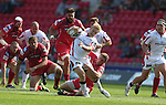 Guiness Pro12<br /> Scarlets outside half Rhys Priestland tackles Ulster centre Stuart Olding.<br /> Scarlets v Ulster<br /> Parc y Scarlets<br /> <br /> 06.09.14<br /> ©Steve Pope-SPORTINGWALES