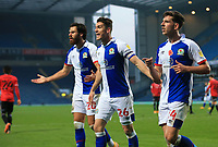7th November 2020; Ewood Park, Blackburn, Lancashire, England; English Football League Championship Football, Blackburn Rovers versus Queens Park Rangers; Ben Brereton and Darragh Lenihan of Blackburn Rovers protest to the assistant referee after their team concede a penalty