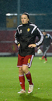 20151130 - LEUVEN ,  BELGIUM : Belgian Tine De Caigny pictured during the female soccer game between the Belgian Red Flames and Serbia , the third game in the qualification for the European Championship in The Netherlands 2017  , Monday 30 November 2015 at Stadion Den Dreef  in Leuven , Belgium. PHOTO DIRK VUYLSTEKE