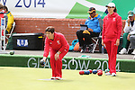 Glasgow 2014 Commonwealth Games<br /> <br /> Lisa Forey & Kelly Packwood (Wales) competing in the lawn bowls women's triples.<br /> <br /> 30.07.14<br /> ©Steve Pope-SPORTINGWALES