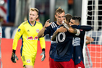 FOXBOROUGH, MA - AUGUST 29: Gustavo Bou #7 of New England Revolution celebrates his goal with teammates during a game between New York Red Bulls and New England Revolution at Gillette Stadium on August 29, 2020 in Foxborough, Massachusetts.