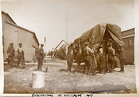 BNPS.co.uk (01202 558833)<br /> Pic: StroudAuctions/BNPS<br /> <br /> Pictured: Soliders pack up at Saint-Idesbald in 1917 <br /> <br /> The poignant sketchbook of a World War One surgeon has been unearthed a century later.<br /> <br /> Captain Theodore Howard Somervell, of the Royal Medical Corps, treated hundreds of wounded Tommies in a field hospital at the Battle of the Somme. <br /> <br /> He was one of just four surgeons working flat-out in a tent, as scores of casualties lay dying on stretchers outside on the bloodiest in British military history.<br /> <br /> There is a sombre pencil sketch of a soldier on the operating table surrounded by a nurse and doctors. Another watercolour shows the bodies of soldiers strewn on a boggy Western Front battlefield.<br /> <br /> Capt Somervell, who was Mentioned In Despatches, drew landmarks including churches which were reduced to rubble in the deadly barrage. He also took rare photos of life on the frontline, including some taken inside an operating theatre. His sketchbook is being sold by a direct descendant with Stroud Auctions, of Gloucs.