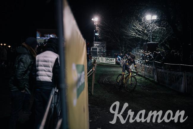 Tom Pidcock (GBR/U23/Telenet Fidea Lions) leading the race<br /> <br /> U23 race<br /> Superprestige Diegem / Belgium 2017
