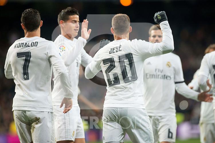 Real Madrid's Cristiano Ronaldo, James Rodriguez and Jese Rodriguez celebrating a goal during La Liga match. March 20,2016. (ALTERPHOTOS/Borja B.Hojas)