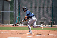 Seattle Mariners catcher Geoandry Montilla (41) hits a home run during an Extended Spring Training game against the San Francisco Giants Orange at the San Francisco Giants Training Complex on May 28, 2018 in Scottsdale, Arizona. (Zachary Lucy/Four Seam Images)