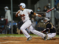 Sarasota Sailors Daniel Torrealba (11) bats during a game against the Riverview Rams on February 19, 2021 at Rams Baseball Complex in Sarasota, Florida. (Mike Janes/Four Seam Images)