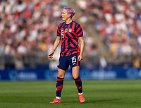 EAST HARTFORD, CT - JULY 5: Megan Rapinoe #15 of the USWNT looks to the ball during a game between Mexico and USWNT at Rentschler Field on July 5, 2021 in East Hartford, Connecticut.