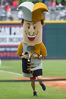 """Charlotte Knights Royalty Racer """"Jerry the Jester"""" wins the race between innings of the International League game between the Pawtucket Red Sox and the Charlotte Knights at BB&T Ballpark on August 8, 2014 in Charlotte, North Carolina.  The Red Sox defeated the Knights  11-8.  (Brian Westerholt/Four Seam Images)"""