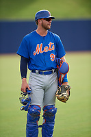 GCL Mets catcher Matthew Foley (98) before the first game of a doubleheader against the GCL Nationals on July 22, 2017 at The Ballpark of the Palm Beaches in Palm Beach, Florida.  GCL Mets defeated the GCL Nationals 1-0 in a seven inning game that originally started on July 17th.  (Mike Janes/Four Seam Images)