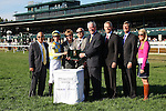 """LEXINGTON, KY - OCTOBER 12: Winner's Circle presentation for #2 La Coronel and jockey Florent Geroux after winning the 26th running of the JPMorgan Chase Jessamine (Grade 3) $150,000 """"Win and You're In Juvenile Fillies Turf Division"""" for owner John Oxley and trainer Mark Casse at Keeneland Race Course.  October 12, 2016, Lexington, Kentucky. (Photo by Candice Chavez/Eclipse Sportswire/Getty Images)"""