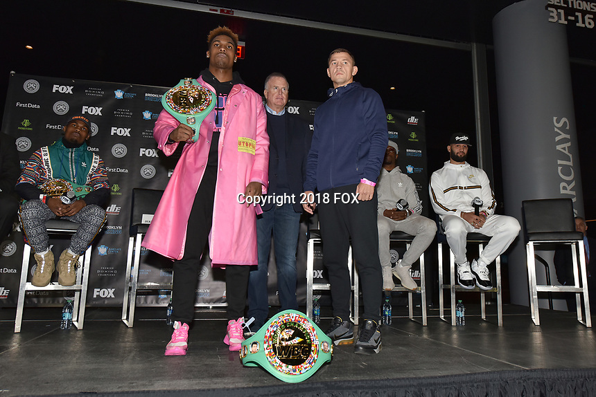 BROOKLYN, NY - DECEMBER 20: Boxers Jermall Charlo and Matt Korobov pose on stage as they attend the Premier Boxing Champions press conference for the December 22 Fox PBC Fight Night at the Barclay Center on December 20, 2018 in Brooklyn, New York. (Photo by Anthony Behar/Fox Sports/PictureGroup)