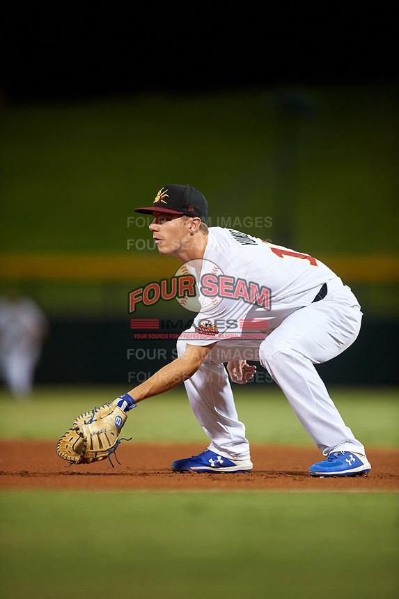 Mesa Solar Sox first baseman Jared Young (17), of the Chicago Cubs organization, during an Arizona Fall League game against the Peoria Javelinas on September 21, 2019 at Sloan Park in Mesa, Arizona. Mesa defeated Peoria 4-1. (Zachary Lucy/Four Seam Images)