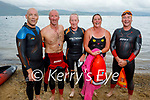 Frank Ryan in 1hr 20min swam from Derrymore to Fenit on Monday. L to r: Fran McElligott, Frank Ryan, Tom Brosnan, Rosie Foley and Jerry Gallagher.
