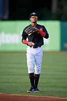 Kane County Cougars right fielder Yan Sanchez (2) warms up before a game against the South Bend Cubs on July 21, 2018 at Northwestern Medicine Field in Geneva, Illinois.  South Bend defeated Kane County 4-2.  (Mike Janes/Four Seam Images)
