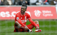 Daniel Sturridge of Liverpool shows a look of dejection after a missed chance during the Barclays Premier League match between Swansea City and Liverpool played at the Liberty Stadium, Swansea on 1st May 2016