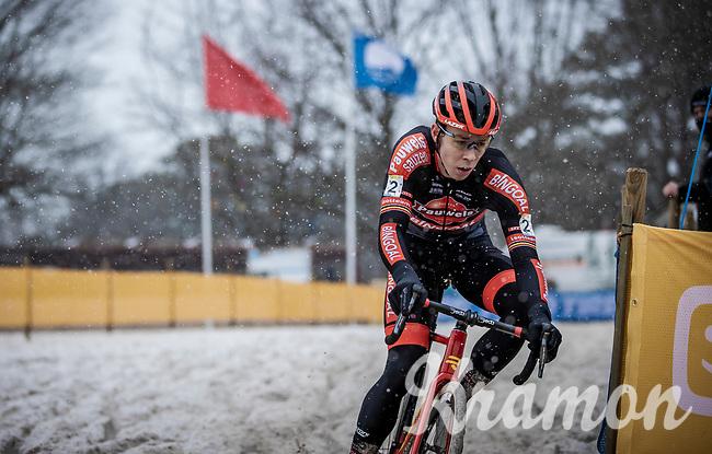 Laurens Sweeck (BEL/Pauwels Sauzen-Bingoal)<br /> <br /> Elite Men's Race<br /> Zilvermeercross Mol (BEL) 2021<br /> <br /> ©Kramon