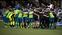 SAN JOSE, CA - MAY 12: Seattle Sounders players huddle before a game between San Jose Earthquakes and Seattle Sounders FC at PayPal Park on May 12, 2021 in San Jose, California.